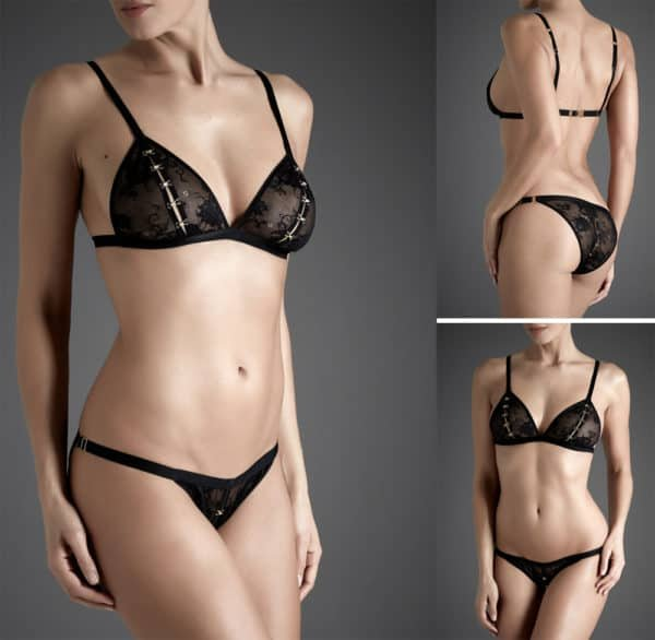 Lingerie set Guet Apens black lace detachable by Atelier Amour