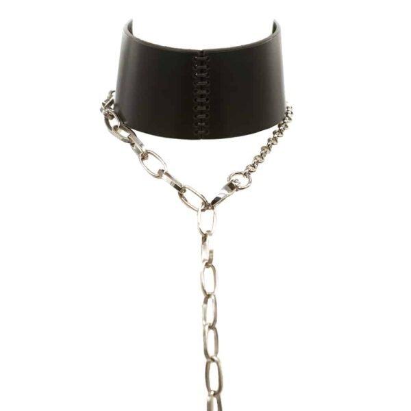 Choker Ebe en cuir noir avec Chaîne argentée et mousqueton d'attache de 0770 chez Brigade Mondaine