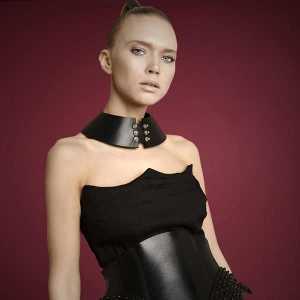 Black leather Plastron collar from 0770 at Brigade Mondaine