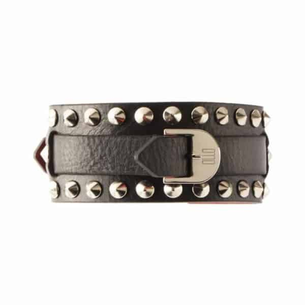 Bianca Choker with leather buckle and small metal picks from 0770 at Brigade Mondaine