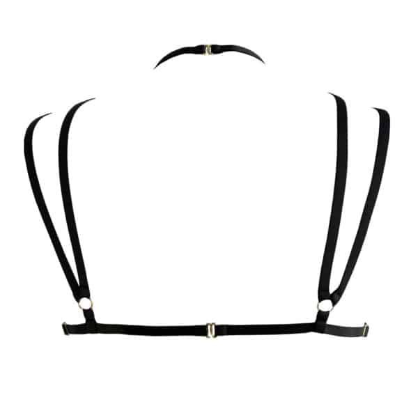 Anahata Bra Strap Harness framing the chest and tightening at the neck in black 13ème Lune