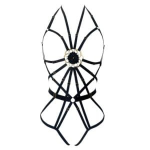 13th moon Flower of Life body harness in black satin and geometric elastic with a flower in the center of the chest