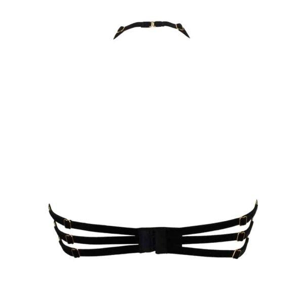 Soutien gorge Myrina en dentelle noire et tulle transparent, attaché derrière le cou de la marque 13ème Lune