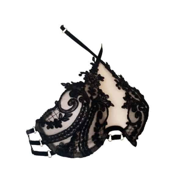 Bra Myrina made of black lace and transparent tulle, attached behind the neck 13ème Lune