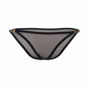 Pantalones de tul negro y detalles de cierre de botón en el lado de la gama de ligereza insoportable por el amor de atelier en Brigade Mondaine