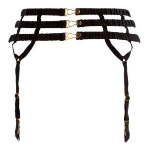Porte Jarretelles en élastiques resserrés noirs de la gamme Please Me par ATELIER AMOUR chez Brigade Mondaine