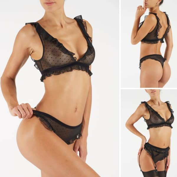Triangle bra in transparent mesh with small patterns and flounces on the seams with bare back WORKSHOP AMOUR at Brigade Mondaine