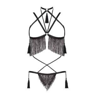 Traje de juego de rol negro con cuerda y sujetador abierto con finos flecos negros y pompones BAED STORIES en Brigade Mondaine