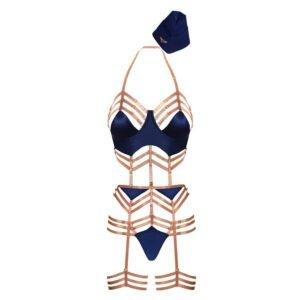 Ролевой костюм хозяйки l'воздух с голубым костюмом боди и золотой эластикой, стринги и подвязки и шляпа d'хостесс BEAD STORIES на Brigade Mondaine