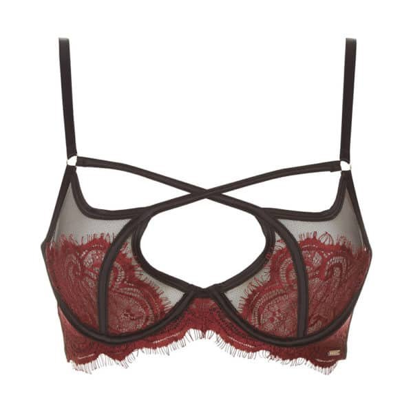 Bra With red lace on black fishnet with crossed elastic Adelia by Bluebella