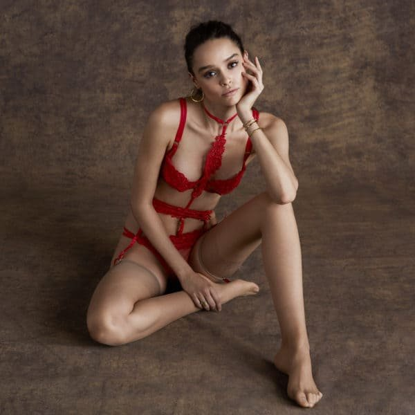 Julienne set in red with patterns and garter belt by Bluebella