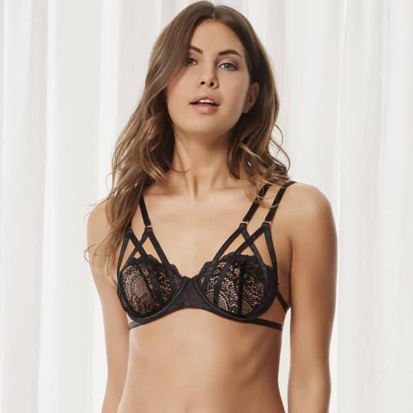 Underwired bra Tarla, lace for a romantic side and crossed elastic for a bondage side and sexy