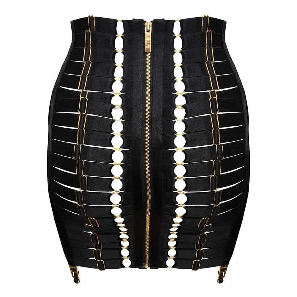 Waspie fully adjustable in black by Bordelle lingerie