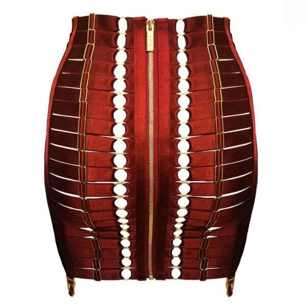 Красный бондажный юбка корсет с регулируемым атласным эластичным и подвесным ремнем BORDELLE на Brigade Mondaine