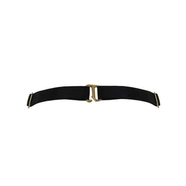 Black satin elastic choker necklace with gold plated attachments and details BORDELLE at Brigade Mondaine
