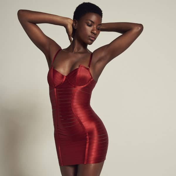 Sexy red elastic and bondage adjustable dress with zipper at l'back by BORDELLE at Brigade Mondaine