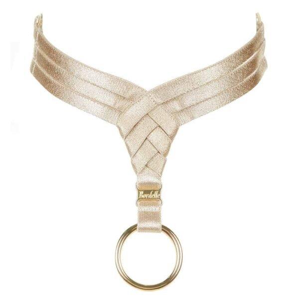 Collier bondage ras du cou caramel en triangle sur le devant et muni d'un anneau doré par Bordelle chez Brigade Mondaine