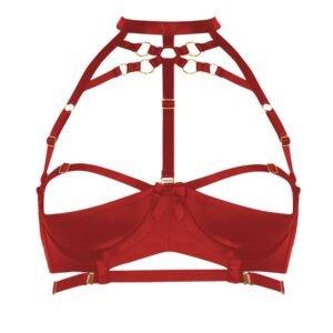 Sujetador de cuello abierto de bondage rojo por Bordelle en Brigade Mondaine