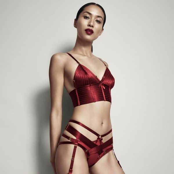 Bondage-Beautiful Crop Top Red satin elastic by Bordelle Signature at Brigade Mondaine