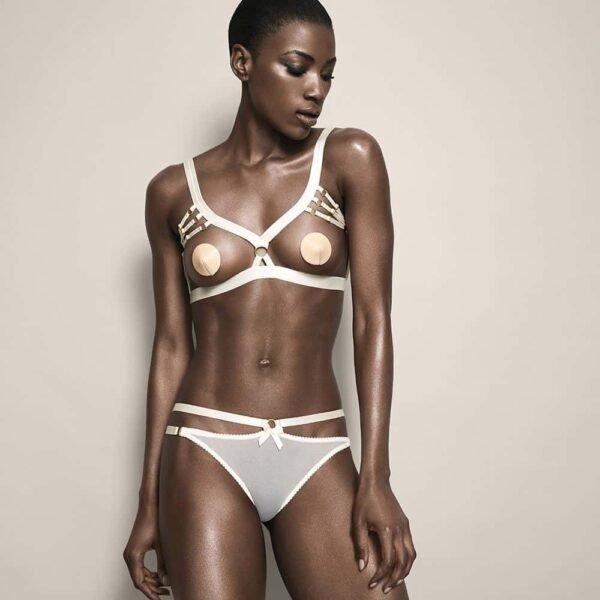 Bondage open bra in cream satin elastics by Bordelle at Brigade Mondaine