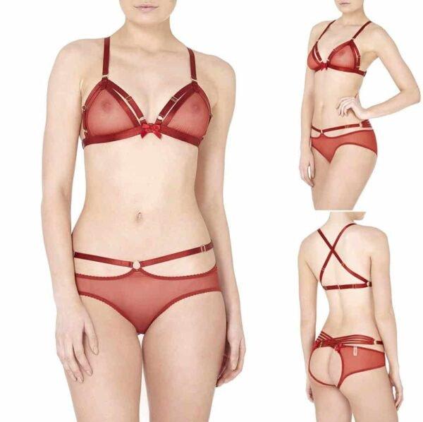 Culotte ouverte résille rouge avec élastiques sur la taille par Bordelle chez Brigade Mondaine
