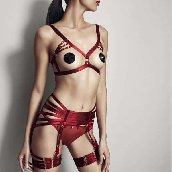 Red Open Bra with elastic to emphasize the bust inspired Bondage by Bordelle Signature at brigade Mondaine