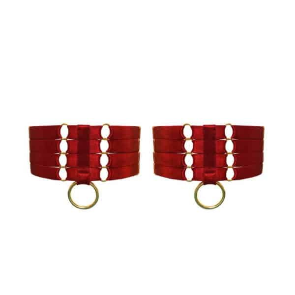 Red Bondage Garters from Bordelle Signature to Brigade Mondaine range