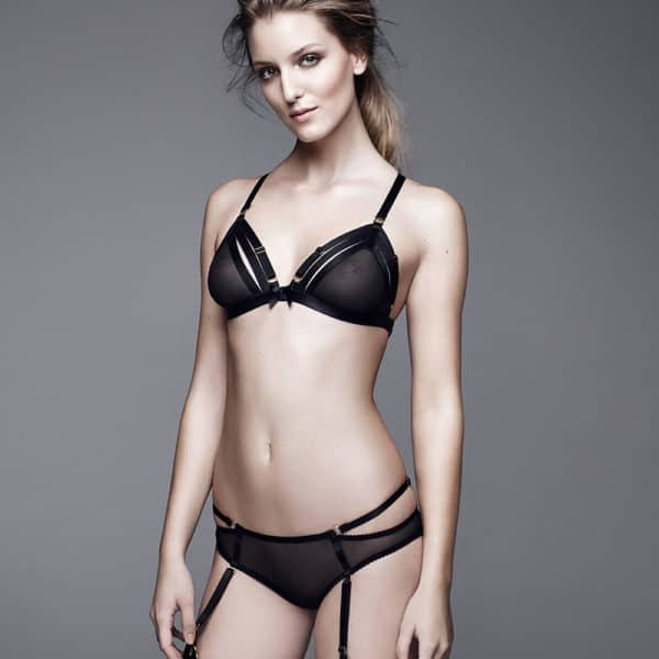 Fishnet triangle bra with adjustable elastic to emphasize your shape by Bordelle SIgnature at Brigade Mondaine