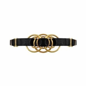 Necklace in black satin elastic with gold metal piece representing an interlacing d'rings in its center, Bordelle Signature at Brigade Mondaine