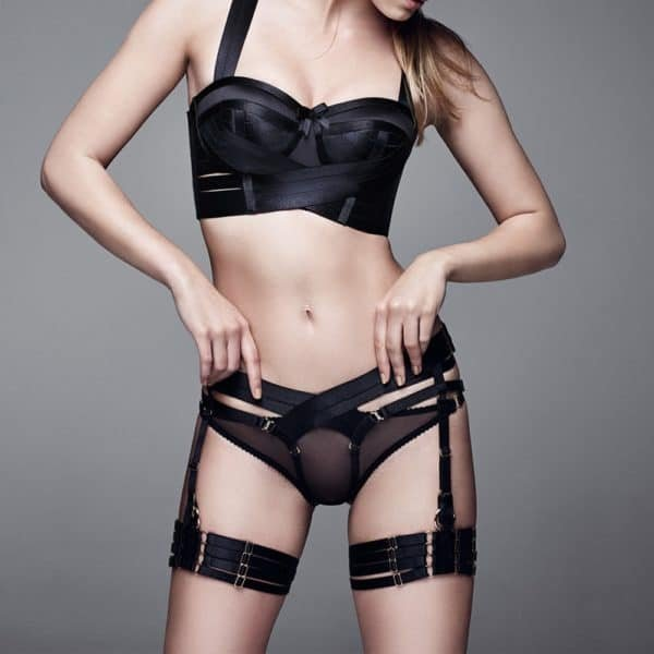Open panty garters harness with wide elastic black Bondage by Bordelle at Brigade Mondaine