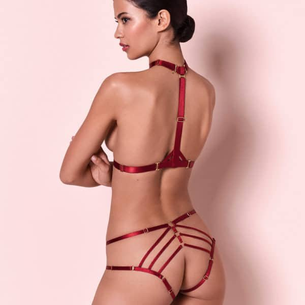 Red harness and open panty set in elastic by Bordelle Signature at Brigade Mondaine