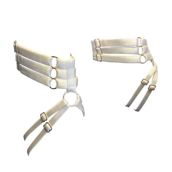 Cream satin elastic ankle bracelet with gold details BORDELLE at Brigade Mondaine