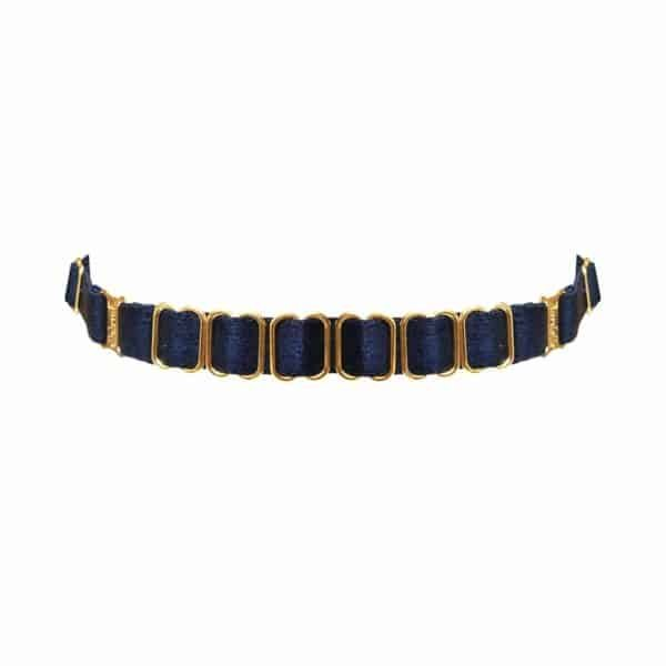 Navy blue satin elastic choker necklace with golden attachments and details BORDELLE at Brigade Mondaine