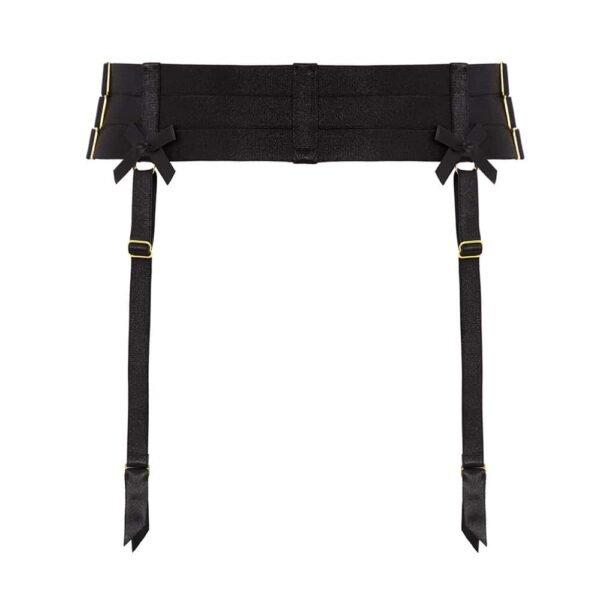 Черный бондажный подвесной ремень с рядами d' атласная эластика и застежка-молния на l' назад на Bordelle на Brigade Mondaine