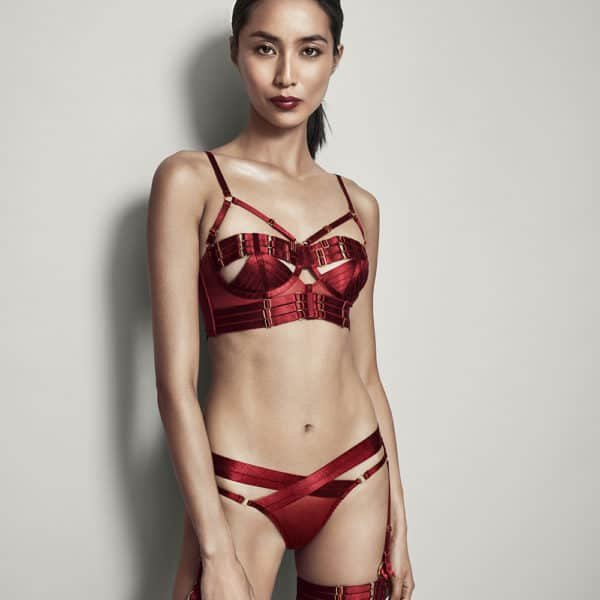 Tomoe harness briefs in fishnet and wide elastics crossed on the top by Bordelle Signature at Brigade Mondaine