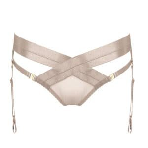 Tomoe briefs harness in black caramel fishnet and crossed elastic on the top by Bordelle at Brigade Mondaine