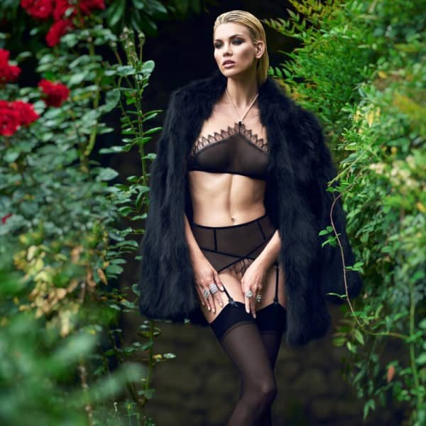 Pearl bra top in black fishnet and lace on the top with pearl neck strap Kyoto range by Bracli at Brigade Mondaine