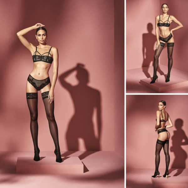 Multi-material thong with mesh, lace and black fishnet with BRACLI stimulating beads at Brigade Mondaine