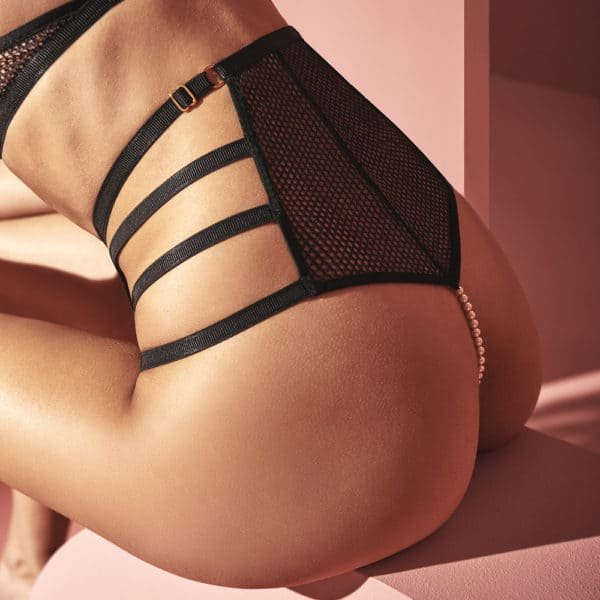 High waist thong panties with stimulating pearls in fishnet and lace and elastic on the hips and waist BRACLI at Brigade Mondaine