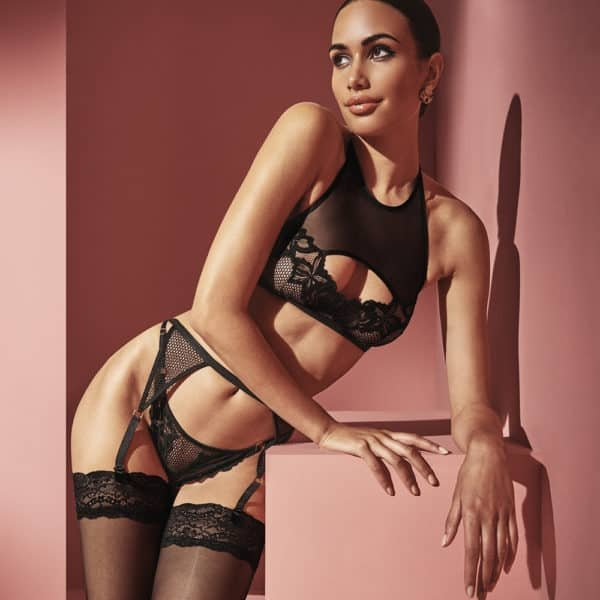 Crop top bare back bra with black lace and fishnet on the breasts and black mesh straps covering the torso BRACLI at Brigade Mondaine