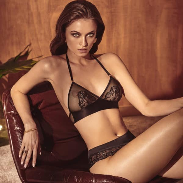 Soft triangle bra made of lace and satin band at the bottom, bare back, Vienna range by BRACLI at Brigade Mondaine