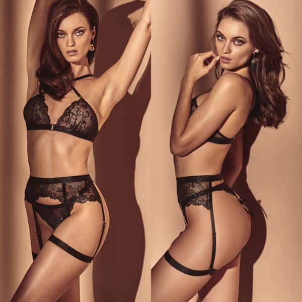 Lace suspender belt with garters from the Vienna collection by BRACLI at Brigade Mondaine