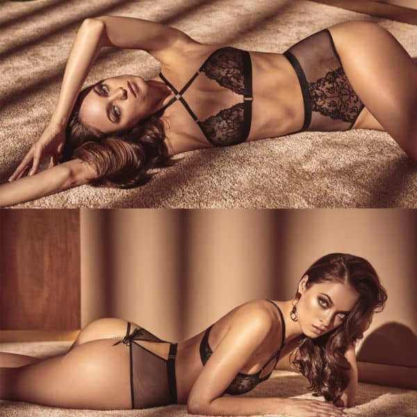 High waist lace and fishnet panties with pearls from the Vienna collection signed BRACLI at Brigade Mondaine