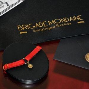 Ici vous pouvez voir le Pack cadeau luxe de la marque Brigade Mondaine. Dedans il y a un chocker rouge avec sa pochette et une carte signée et dédicacée juste pour vous. Tout cela est contenu dans une pochette en soie noire.