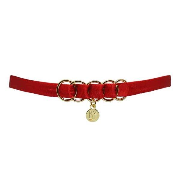 """Здесь вы можете увидеть BRIGADE MONDAINE GIFT WRAP RED. Это ожерелье состоит из красной ленты. В середине ленты расположены 5 колец, пересекающих ее. В центре висит круглая деталь с надписью """"BM""""."""