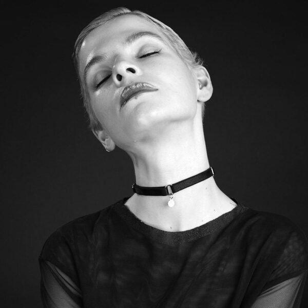 black erotic choker in elastic with BM medallion by Brigade Mondaine
