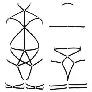 Playsuit Margo en élastiques noirs géométrique avec étoile sur le ventre signé Couture de Nuit chez Brigade Mondaine