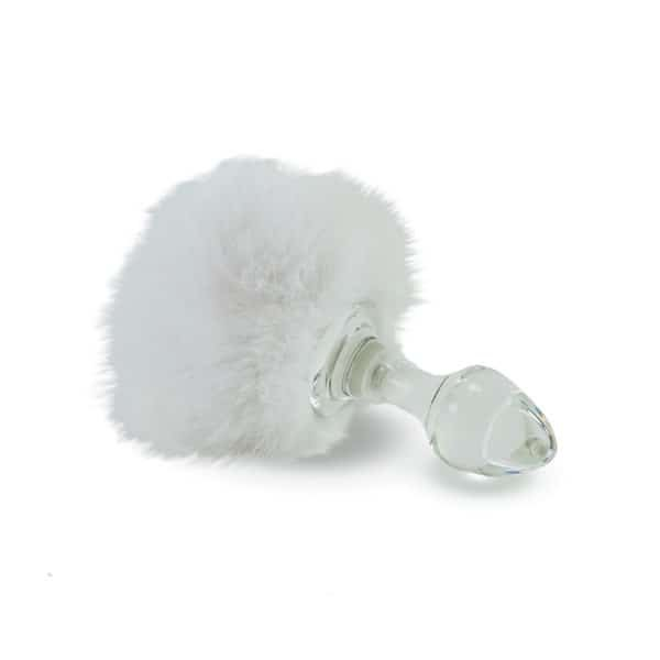White rabbit tail anal plug removable by CRYSTAL DELIGHTS at Brigade Mondaine