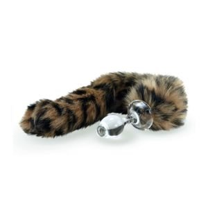 Leopard Bud tail plug with detachable magnetic base by Crystal Delights at Brigade Mondaine