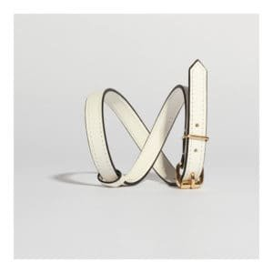 Белый кожаный браслет или чокер ожерелье с тонким эффектом пояса и позолоченной застежкой DOMESTIC на Brigade Mondaine